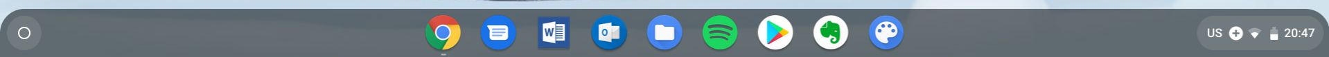 Chrome Canvas op chromebook app menu balk